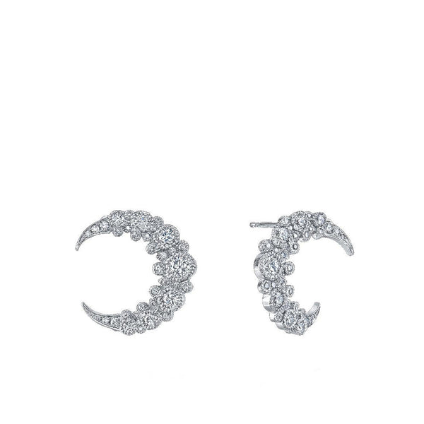"""Moon Huggies"" 18k White Gold Earrings"
