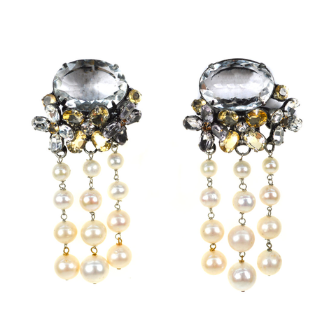 """Crystal Flower Pearl"" Clip Drop Earrings"