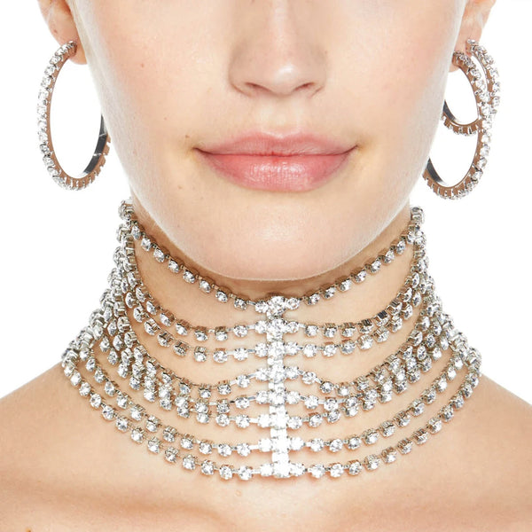 """Draped Cupchain Choker"" Silver/Clear Crystal"