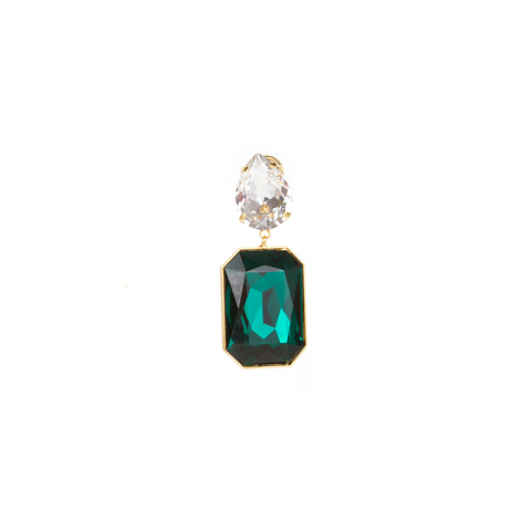 """Dynasty"" Crystal Emerald Mono Earring"