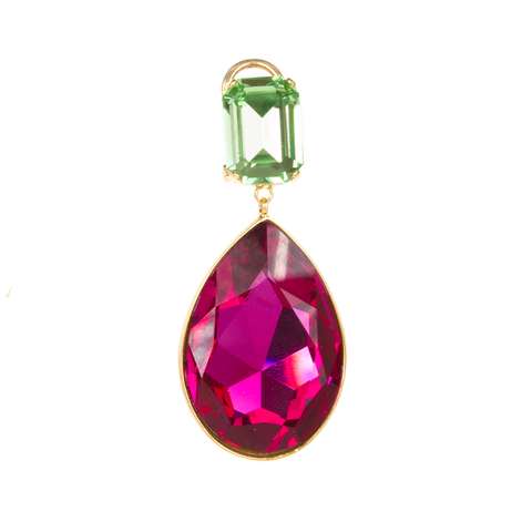 """Dynasty"" Green and Fuschia Mono Earring"