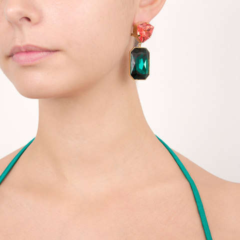 """Dynasty"" Emerald and Peach Mono Earring"