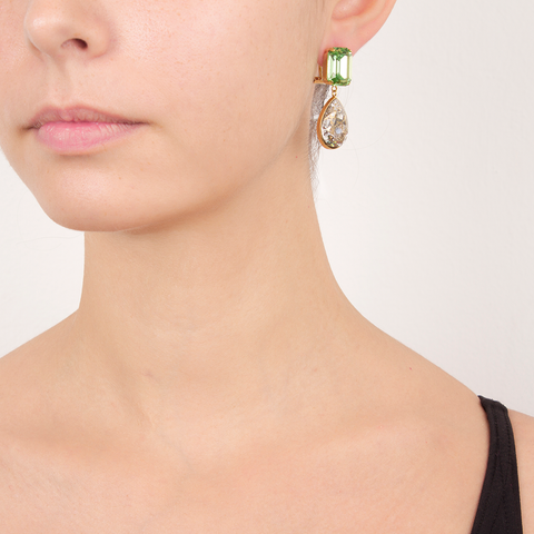 """DYNASTY"" SMALL GREEN & CLEAR MONO EARRING"