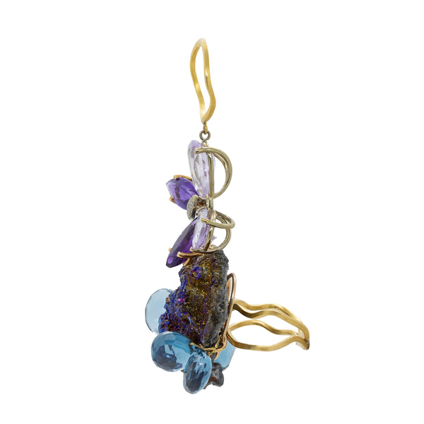 """Druzy Agate, Blue Topaz and Amethyst"" Double Ring"