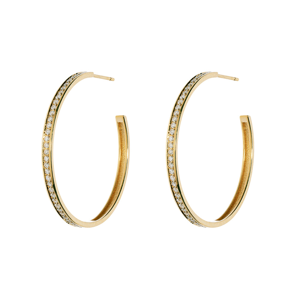 """LARGE DIAMOND PAVE HOOPS"" EARRINGS"