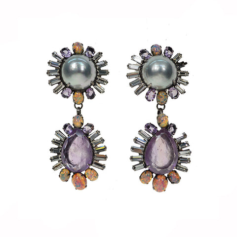 """Grey Pearl and Amethyst Drops"" Earrings"