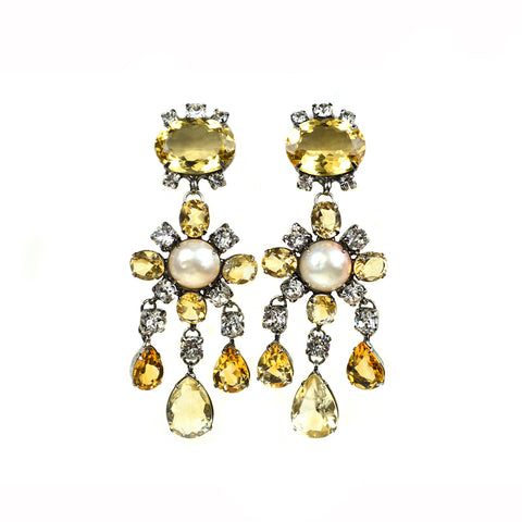 """Citrine and Pearl Drop"" Earrings"