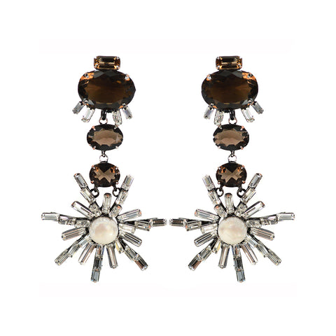 """Smoky Quartz Flower Drops"" Earrings"