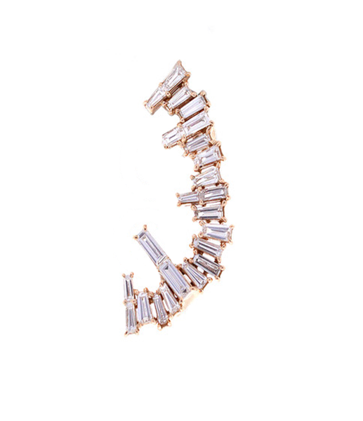 """ Ice stitch 5"" 18K Rose Gold Baguette Diamonds Ear Crawler Mono Earring"