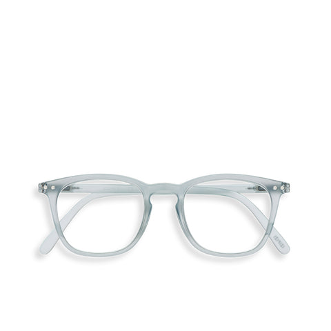 """E"" Frosted Blue Reading Glasses"