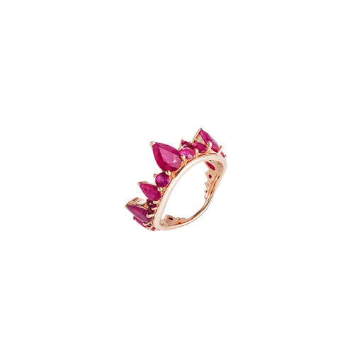 """Electric Crown Ring"" 18k Rose Gold and Rubies Ring"