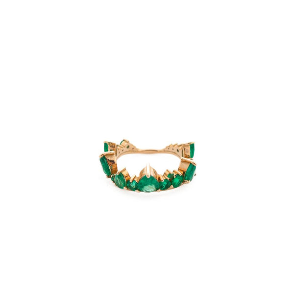 """Electric Crown Ring"" 18k Rose Gold and Emeralds Ring"