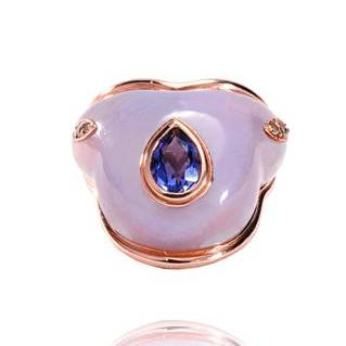 """FLUID"" IOLITE DROPLET ON CHALCEDONY RING"