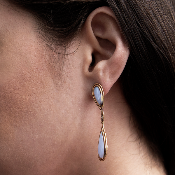 """Fluid Diamonds and Chalcedony"" Small Drop Earrings"