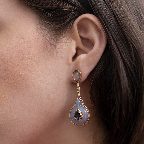 """FLUID IOLITE DROPLET ON CHALCEDONY"" EARRINGS"