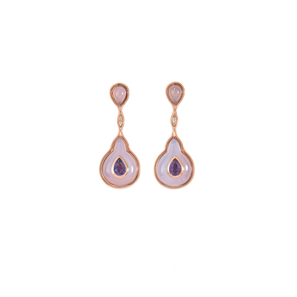 """FLUID"" IOLITE DROPLET ON CHALCEDONY EARRINGS"