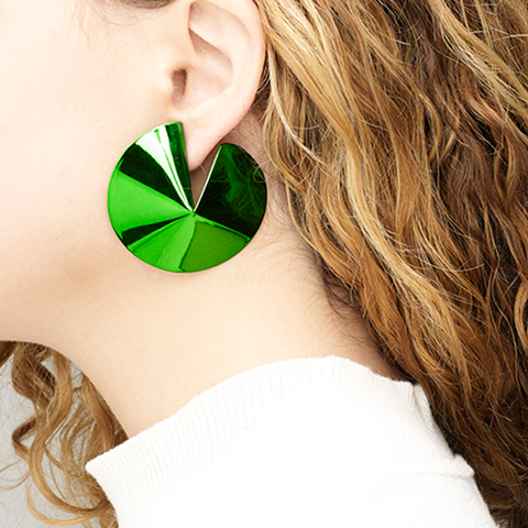 """Fortune Cookie Earrings"" Green"
