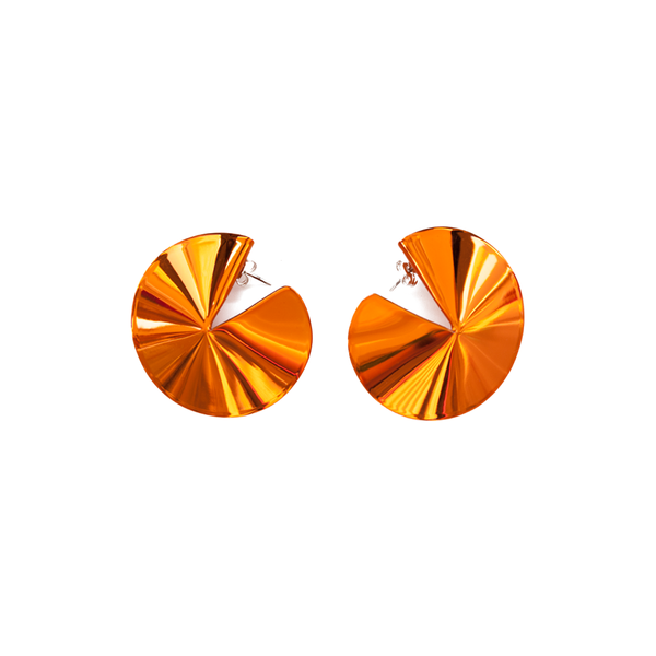 """Fortune Cookie Earrings"" Orange"