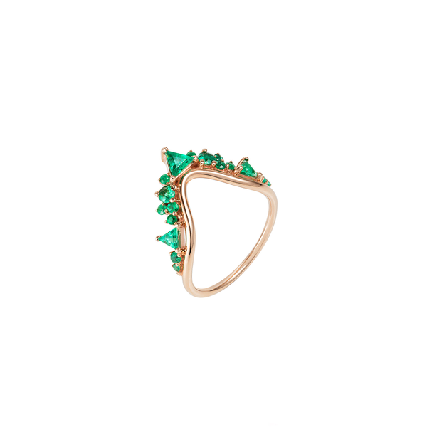 """FUSION WAVE"" LARGE 18K ROSE GOLD & EMERALDS RING"