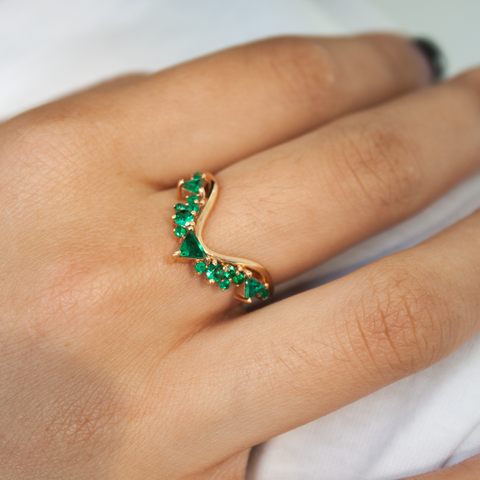 """Fusion Wave Large"" 18k Rose Gold and Emeralds Ring"