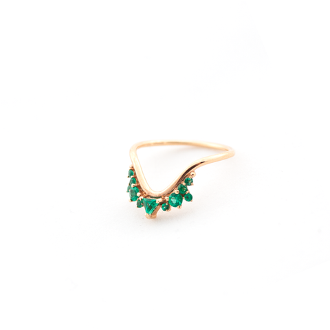 """FUSION WAVE"" SMALL 18K ROSE GOLD & EMERALDS RING"