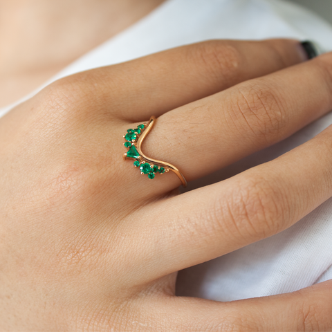 """Fusion Wave Small"" 18k Rose Gold and Emeralds Ring"