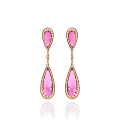 """Fluid Diamonds and Rubellites Drop Earrings"""