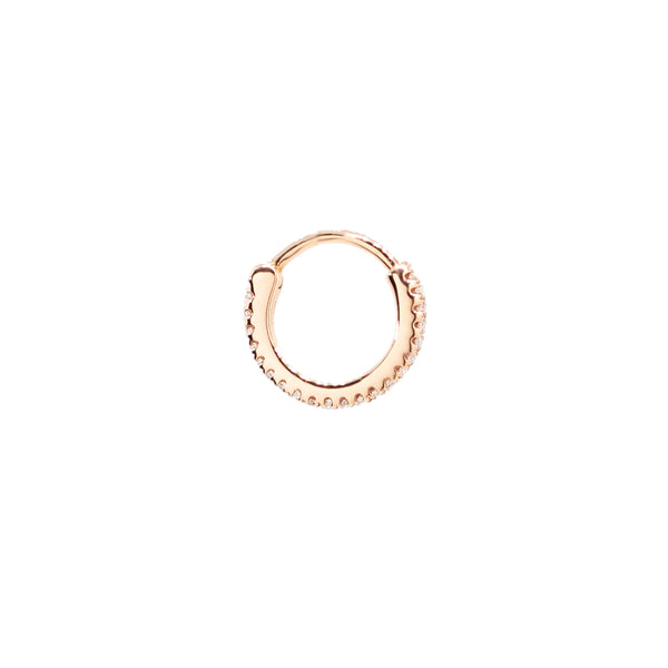 """Rose Gold Diamond Pave Small Hoop"" Mono Earring"