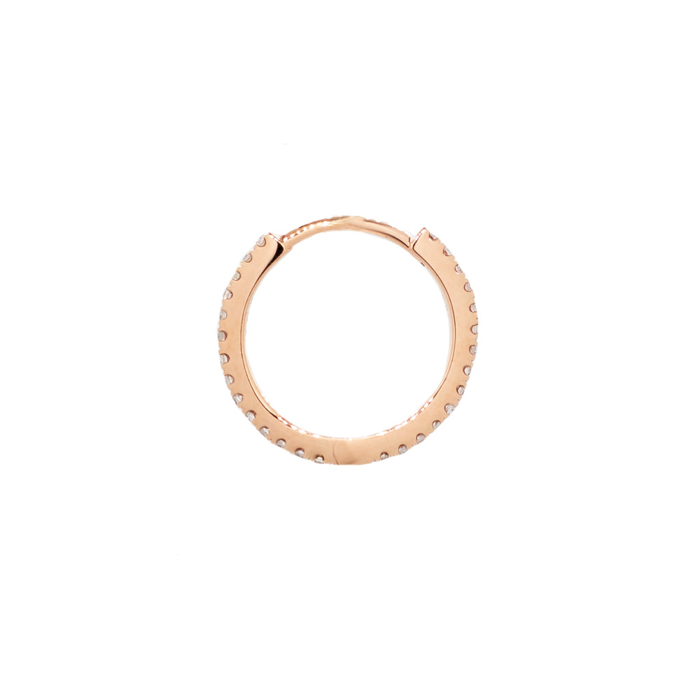 """Rose Gold Diamond Pave Huggie 12mm"" Mono Earring"