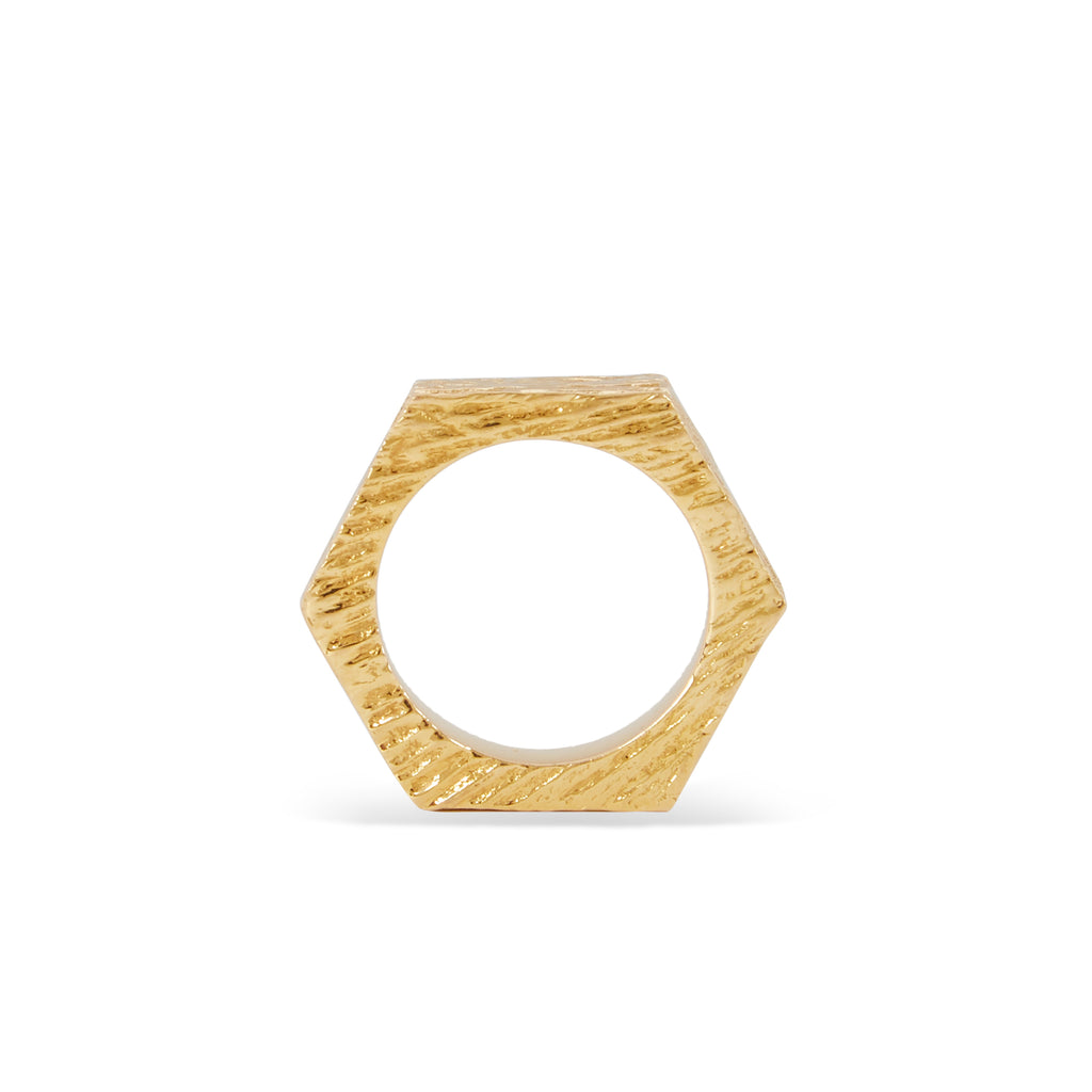 """HEXAGON RING I"" 18K GOLD BAND"