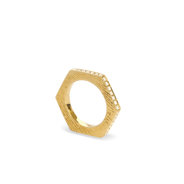 """HEXAGON RING II"" 18K GOLD BAND"