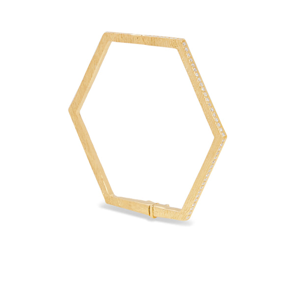 """HEXAGON BANGLE I"" 18K GOLD BRACELET"