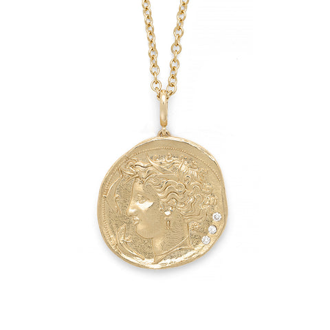 """Goddess Large Diamond Coin Necklace"""