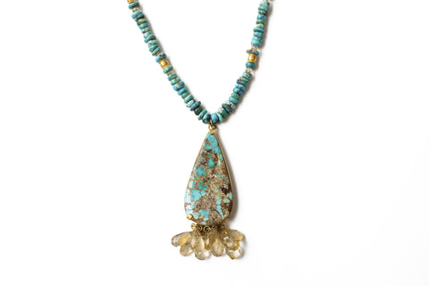 """Citrine & Turquoise"" 18K Gold Necklace - ARCHIVES"
