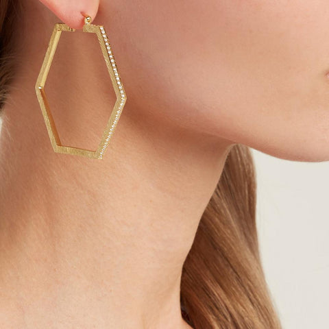 """Hexagon Hoops II"" 18K Gold Earrings"