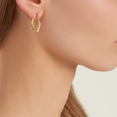 """Hexagon Hoops I"" 18K Gold Earrings"