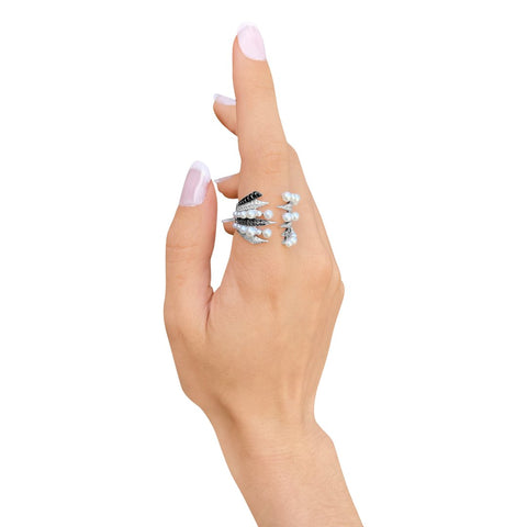 """Penacho Large Wrap Pearl & White Gold"" Ring"