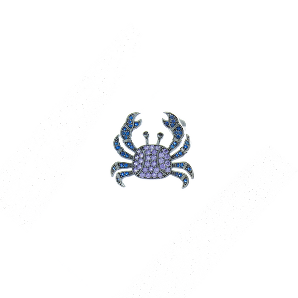 """Purple & Blue Crab"" Mono Earring"