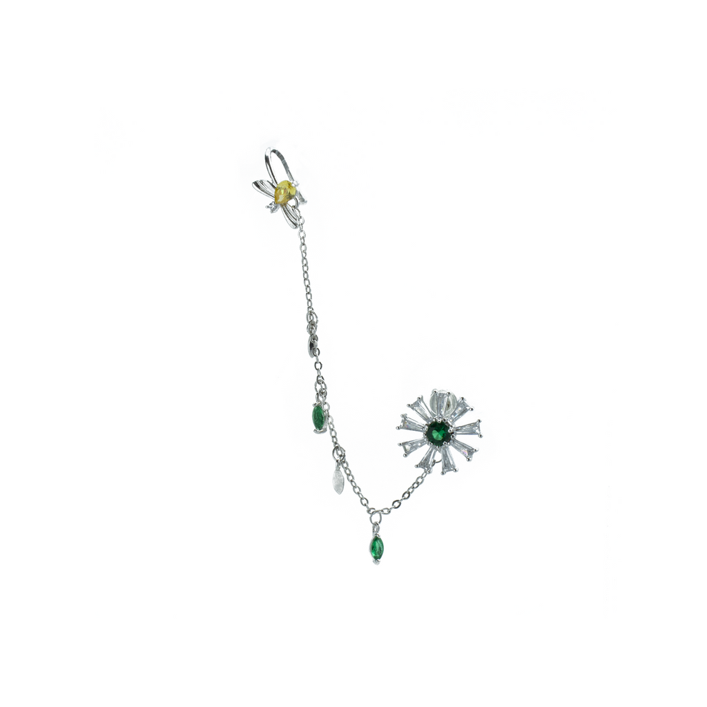 """Green Flower Crystal Drop"" Mono Earring"