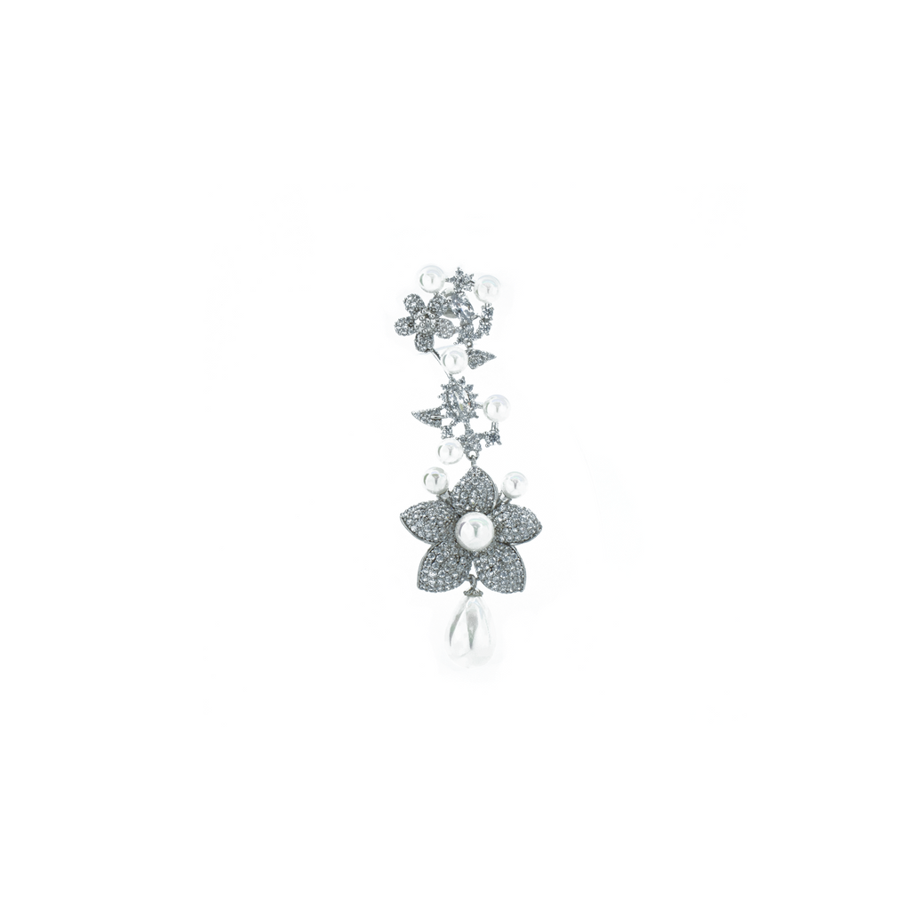 """Large Silver Flower and Pearl Drop"" Mono Earring"