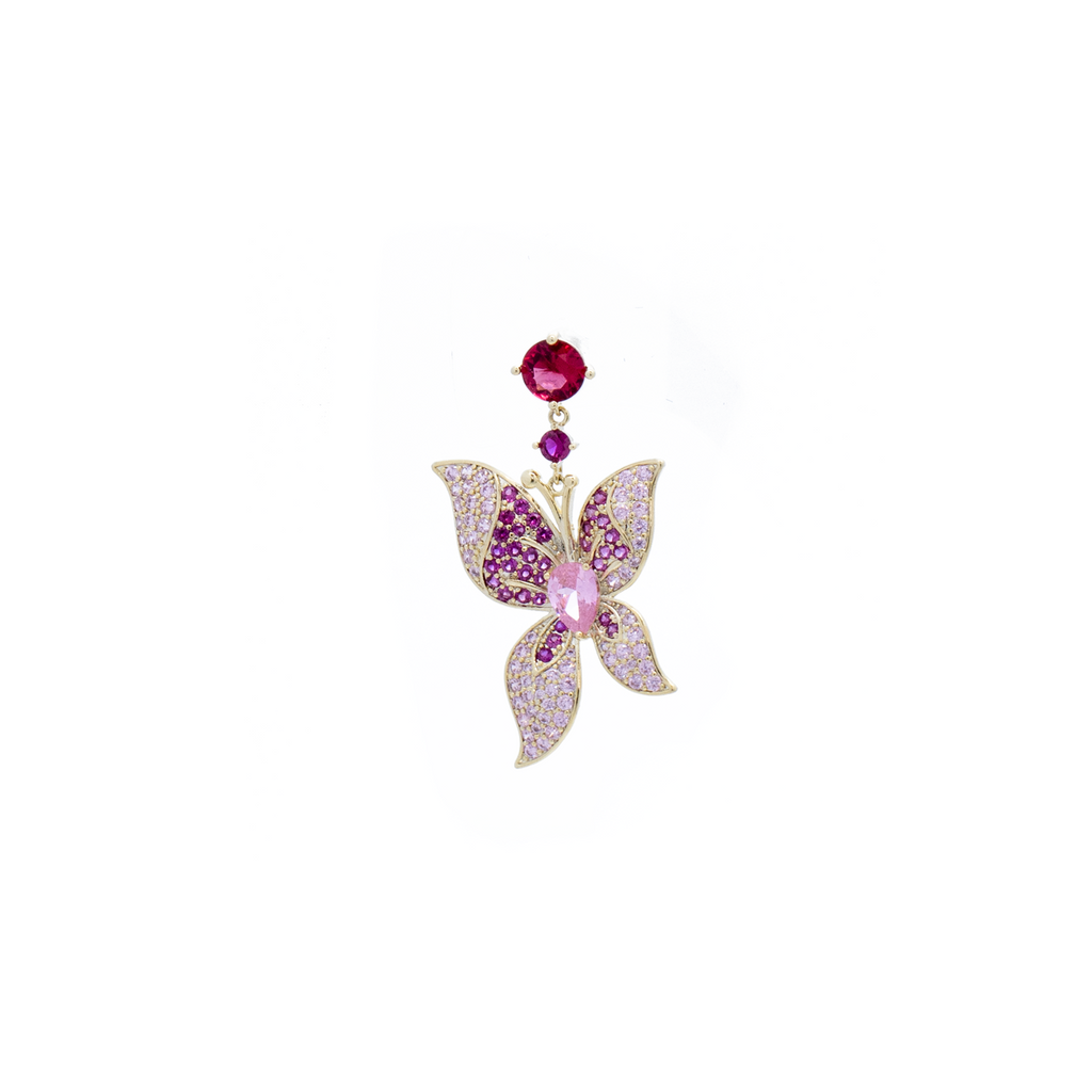"""Pink Crystal Butterfly"" Mono Earring"
