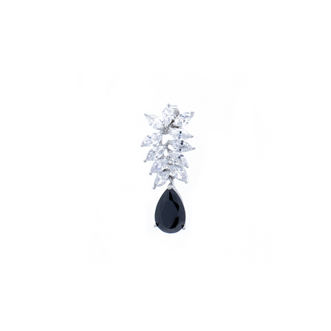 """Black Crystal Drop"" Mono Earring"
