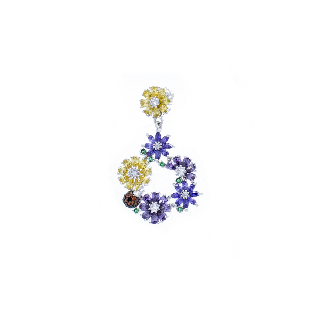"""Purple Flower Drop"" Mono Earring"