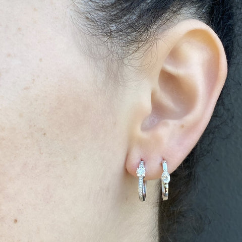 """Medium Maasai Rose Gold Tear Drop White Diamond"" Hoop Earring"