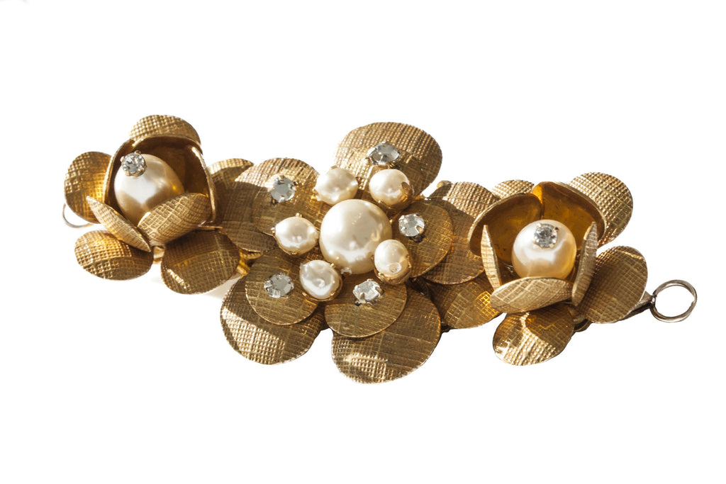 """Gold Pearl"" Flower Brooch - ARCHIVES"