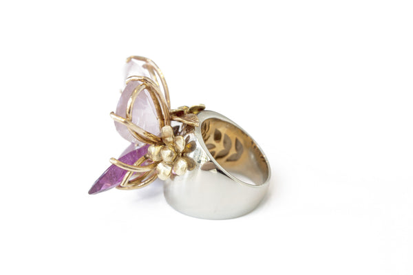 """Pink Diamond Butterfly"" 18K Gold Ring - ARCHIVES - 2"