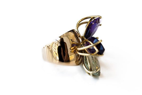 """Green & Purple Butterfly"" 18K Ring - ARCHIVES"