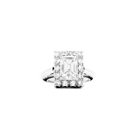 """18k White Gold and Emerald Cut Diamond Solitaire with Halo"" Ring"