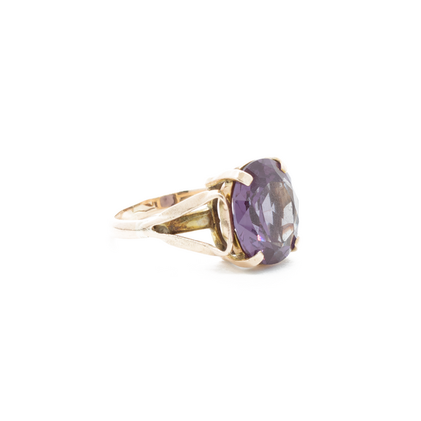 """Yellow Gold Flame Fusion Sapphire"" Ring"