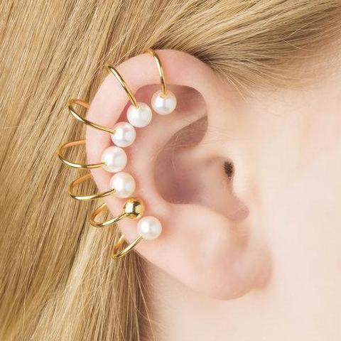 """Iris Ear Wrap with 6 Pearls"" Mono Earring"
